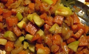 Farmgirl Fare - roasted sweet potatoes with onions and apple 2